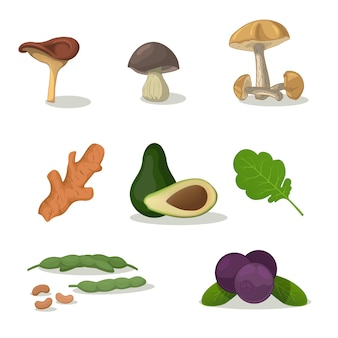 Vegetables icon collection - vector color illustration isolated on white set