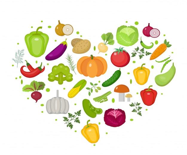 야채 아이콘 심장 모양에 설정합니다. 플랫 스타일. 흰색 배경에 고립. 건강한 생활 방식, 비건 채식, 채식, 생식. 삽화.