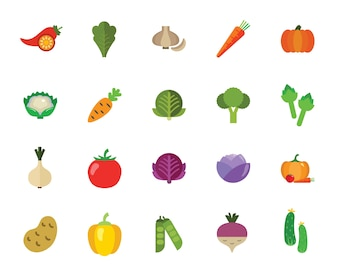 Vegetables icon set