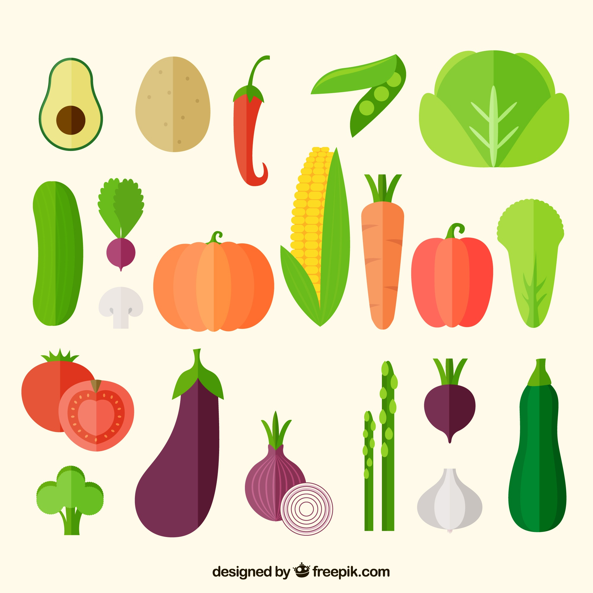 Vegetables icons collection