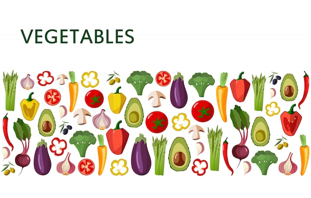Vegetables icons set in cartoon style on white