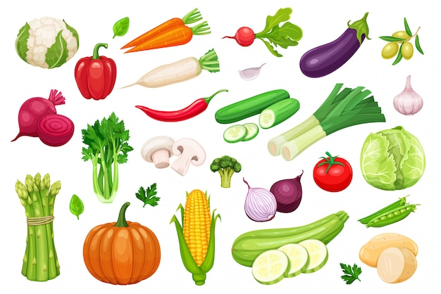 Vegetables icons set in cartoon style.