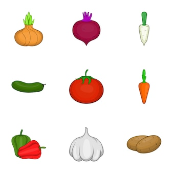 Vegetables icons set, cartoon style