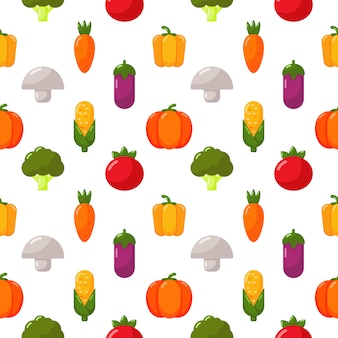 Vegetables icons set seamless pattern isolate on white