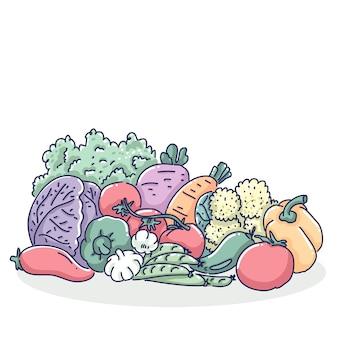 Дизайн иллюстрации овощи