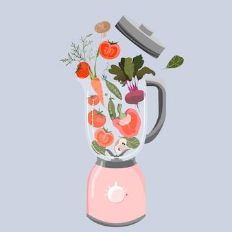 Овощи в блендере. разнообразие овощей: перец, помидор, свекла, горох, шпинат и морковь. здоровое питание. фитнес и концепция ухода за телом. приготовление смузи. модный изолированных иллюстрация.