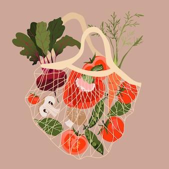 メッシュの野菜。リサイクルバッグに入った様々な新鮮野菜。 webおよびバナーデザインのトレンディな手描きイラスト。食料品、スーパーマーケット、ショッピングのコンセプト。健康的な生活様式。