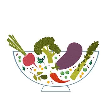 Овощи в прозрачной миске векторные иллюстрации на белом фоне еда для вегетарианцев