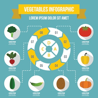 Vegetables infographic template, flat style