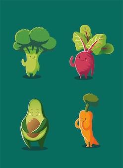야채 카와이 귀여운 브로콜리 사탕 무우 아보카도 당근 만화 스타일 벡터 일러스트 레이션