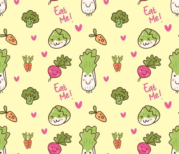Vegetables kawaii pattern