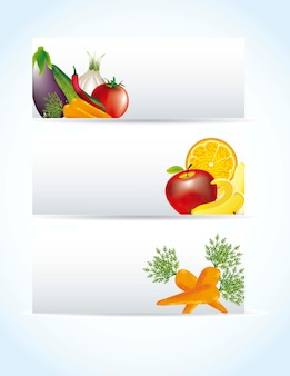 Vegetables labels with shadow over blue background vector