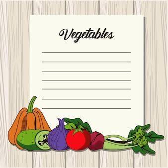 健康食品と紙のメモで野菜のレタリング