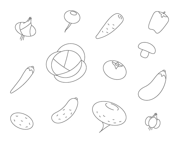 Vegetables line icons. set vector icon of vegetable cabbage, carrots, cucumber, garlic, onions, peppers.