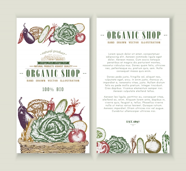 Vegetables market flyer design template