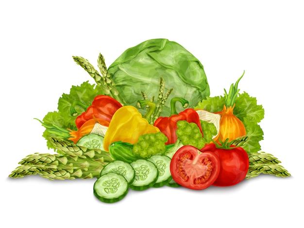 Le verdure si mescolano su bianco