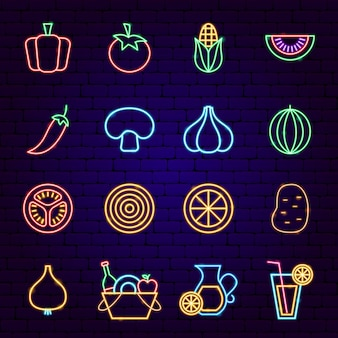 Vegetables neon icons. vector illustration of picnic promotion.