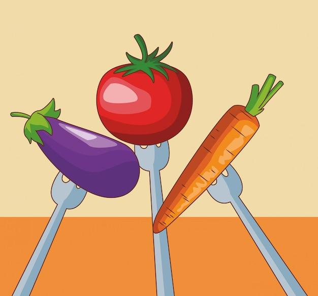Овощи на вилках