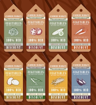 Vegetables organic food tags design elements