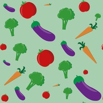 신선한 토마토, 브로콜리, 당근, 가지 야채 개념 그림에서 야채 패턴
