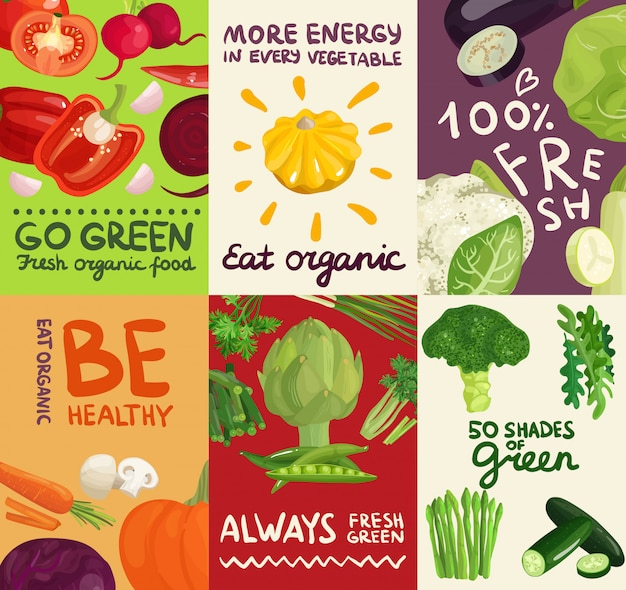 Vegetables posters and banners set
