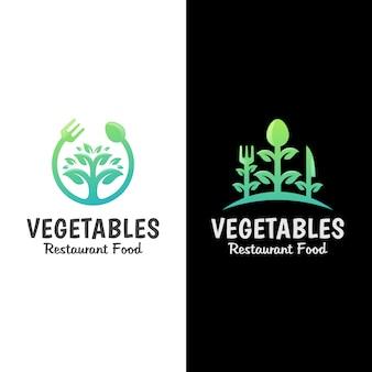 Логотип продовольственного центра ресторана овощей.