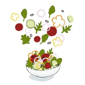 ガラスのボウルにトマト、キュウリ、タマネギ、ピーマン、オリーブの野菜サラダ。健康的な食事のコンセプトです。サラダを調理します。ダイエット食品。ベジタリアンのイラスト。