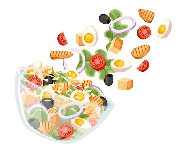 Рецепт салата из овощей. салат цезарь попадает в прозрачную миску. свежие овощи мультфильм дизайн еды. плоский рисунок, изолированные на белом фоне.