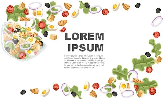 野菜サラダのレシピ。シーザーサラダは透明なボウルに落ちる。新鮮な野菜の漫画のデザイン食品。白い背景の上の平らなイラスト。