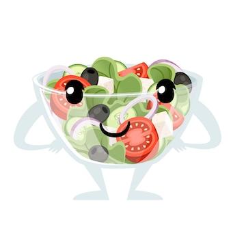 野菜サラダのレシピ。透明なボウルのマスコットのギリシャ風サラダ。新鮮な野菜の漫画のアイコンデザイン食品。白い背景で隔離のフラットベクトルイラスト。