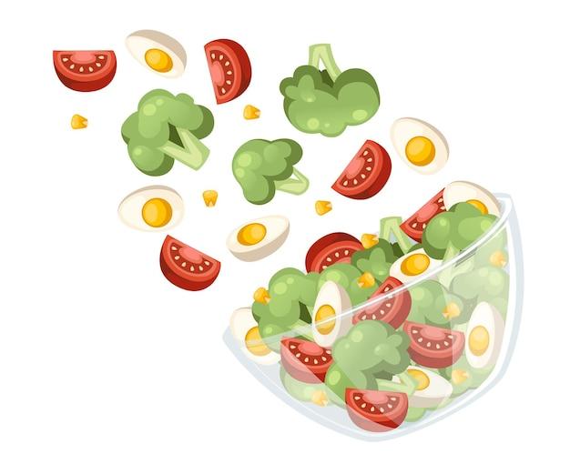 야채 샐러드 레시피. 샐러드는 투명한 그릇에 떨어집니다. 신선한 야채 만화 디자인 음식. 흰색 배경에 고립 된 평면 그림