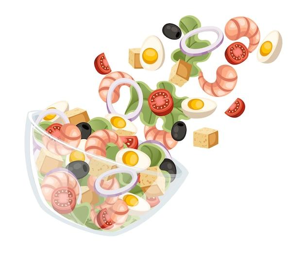 야채 샐러드 레시피. 해물 샐러드는 투명한 그릇에 떨어집니다. 신선한 야채 만화 디자인 음식. 평면 그림 흰색 배경에 고립입니다.