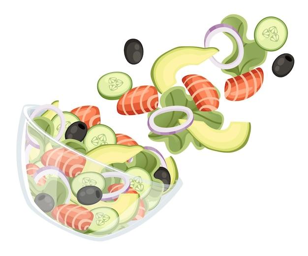 野菜サラダのレシピ。シーフードサラダは透明なボウルに落ちる。新鮮な野菜の漫画のデザイン食品。白い背景で隔離のフラットイラスト。