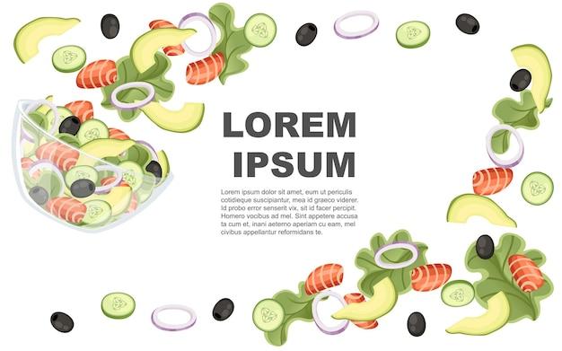 野菜サラダのレシピ。シーフードサラダは透明なボウルに落ちる。新鮮な野菜の漫画のデザイン食品。白い背景の上の平らなイラスト。