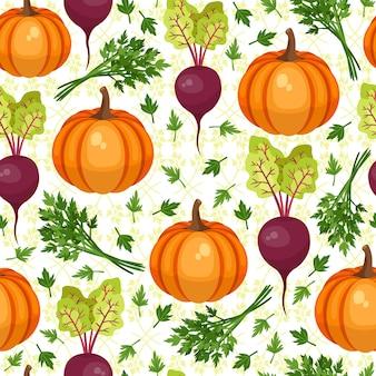 野菜のシームレスなパターン。ビートとカボチャ。イラスト、ベクトル。感謝祭の美しい背景