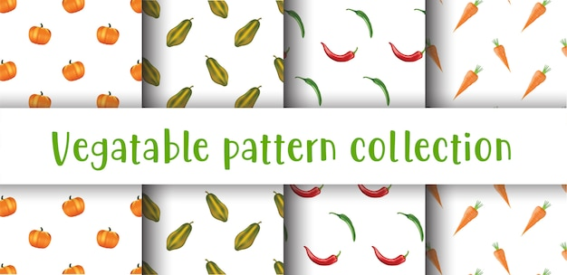 Vegetables seamless pattern collection.