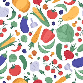 Vegetables seamless pattern. doodle vegetarians colourful veggies wrapping, cartoon natural products vegan fabric, meal menu design. organic vegetables  background. healthy detox eating texture