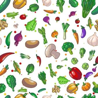 Овощи бесшовные модели рисунок иллюстрации дизайн