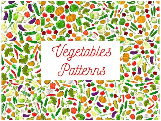 Vegetables seamless pattern of farm cucumber, carrot, potato, beet, kohlrabi, radish, cabbage, asparagus, squash, eggplant, garlic pepper paprika pumpkin broccoli tomato cauliflower corn pea