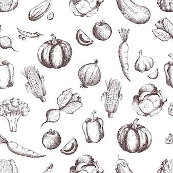 Овощи бесшовные модели нарисованные вручную винтажные овощи линии искусства иллюстрации