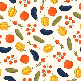 Овощи бесшовные модели в трендовом стиле