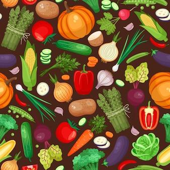 野菜のシームレスなパターン。カボチャ、ビート、ジャガイモ、ピーマン。