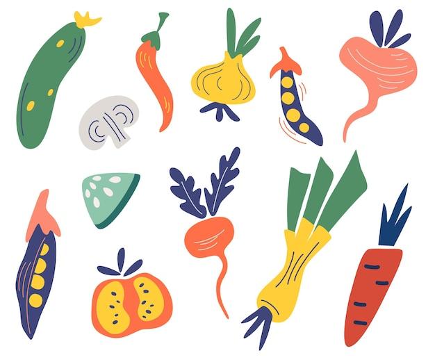 野菜セット。色付きの手描きの新鮮な野菜の大きなコレクション。おいしいベジタリアン製品の大きな束、健康的な健康食品。ビーガン、農場、オーガニック、ナチュラル。フラットベクトルイラスト。