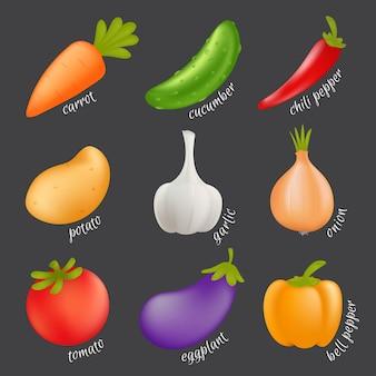 野菜セット。孤立した野菜-ニンジン、キュウリ、パプリカ、ジャガイモ、ニンニク、タマネギ、トマト、ナス、ピーマンの漫画健康食品のコンセプト