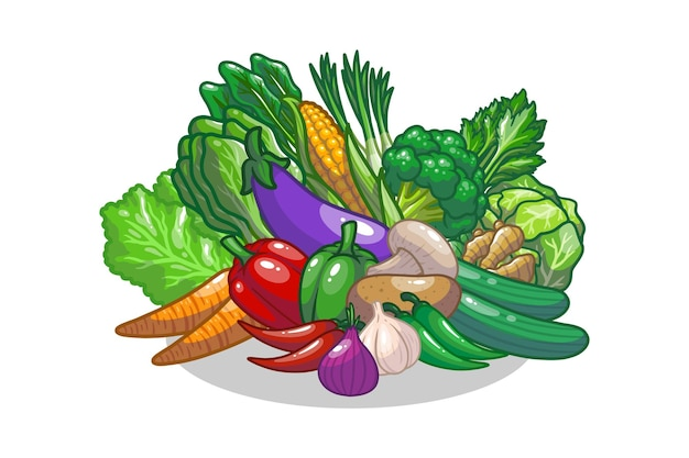 Овощи набор рисования иллюстрации дизайн