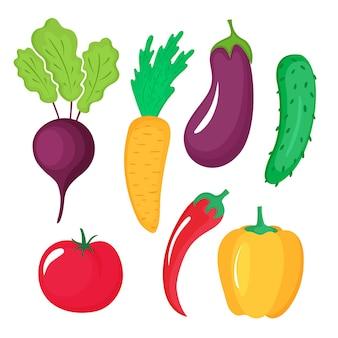 Набор овощей из свеклы, чили, моркови, баклажанов, огурцов, помидоров и перца, изолированные на белом фоне.