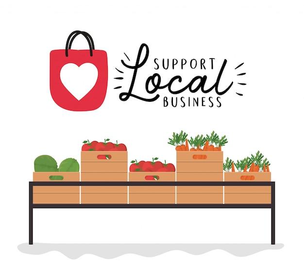 Овощная полка с поддержкой местного бизнес-дизайна, темы розничной покупки и рынка