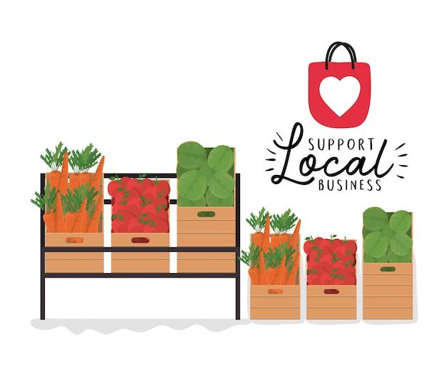 Овощные полки и ящики с поддержкой местного бизнеса, дизайна розничной покупки и темы рынка