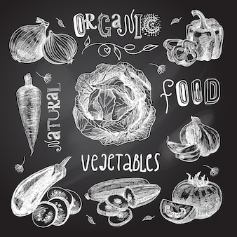 Vegetables sketch set chalkboard