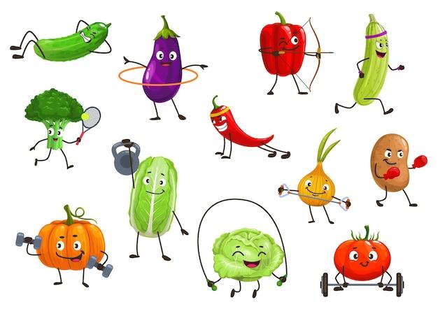 Vegetables sportsmen isolated illustration